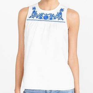 J.Crew embroidered sleeveless shell